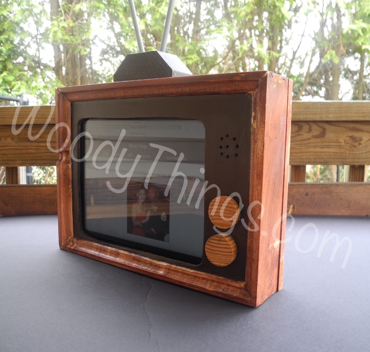 80 s inspired tv ipad tablet stand woody things. Black Bedroom Furniture Sets. Home Design Ideas