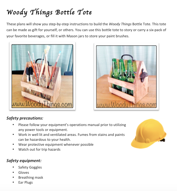 Do it yourself plans and kits woody things llc beer bottle mason jar caddytote diy plans only solutioingenieria Gallery